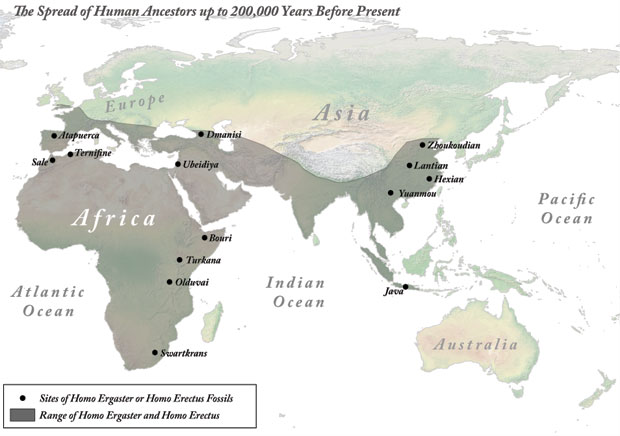 The Spread of Human Ancestors up to 200,000 Years Before Present