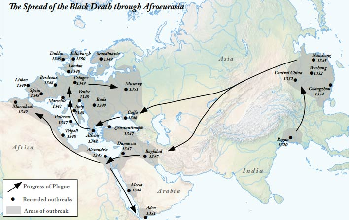 The Spread of the Black Death through Afroeurasia